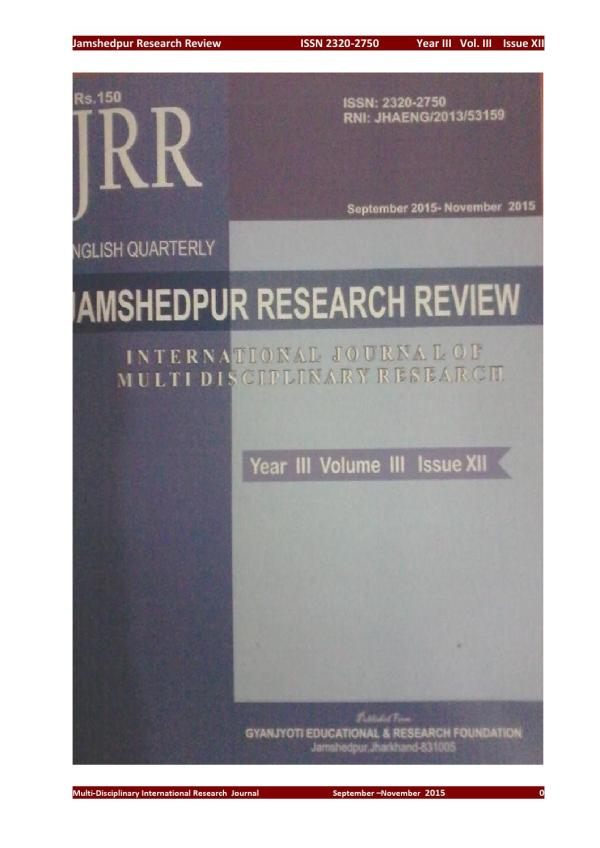 Jamshedpur research review i Year 3 , Volume 3 , Issue 12 ...