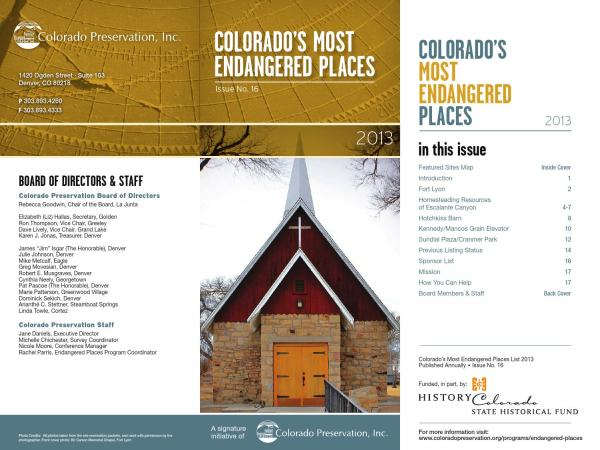 CPI's 2013 Endangered Places Program Brochure by Colorado ...