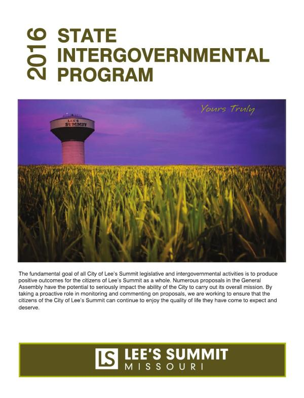 2016 State Intergovernmental Program by City of Lees ...