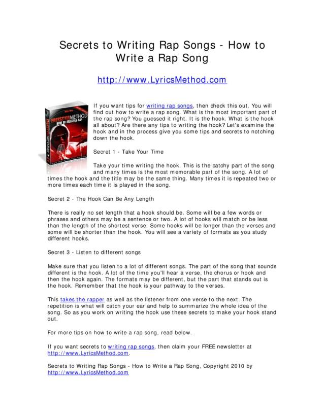 Secrets to Writing Rap Songs - How to Write a Rap Song by Mike