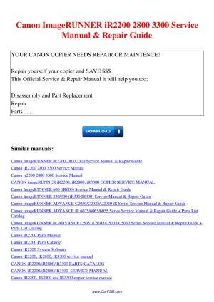 Canon ImageRUNNER iR2200 2800 3300 Service Manual Repair