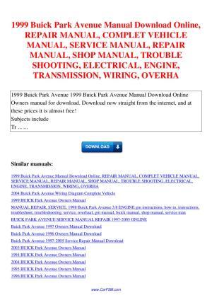 1999 Buick Park Avenue Manual REPAIR MANUAL COMPLET