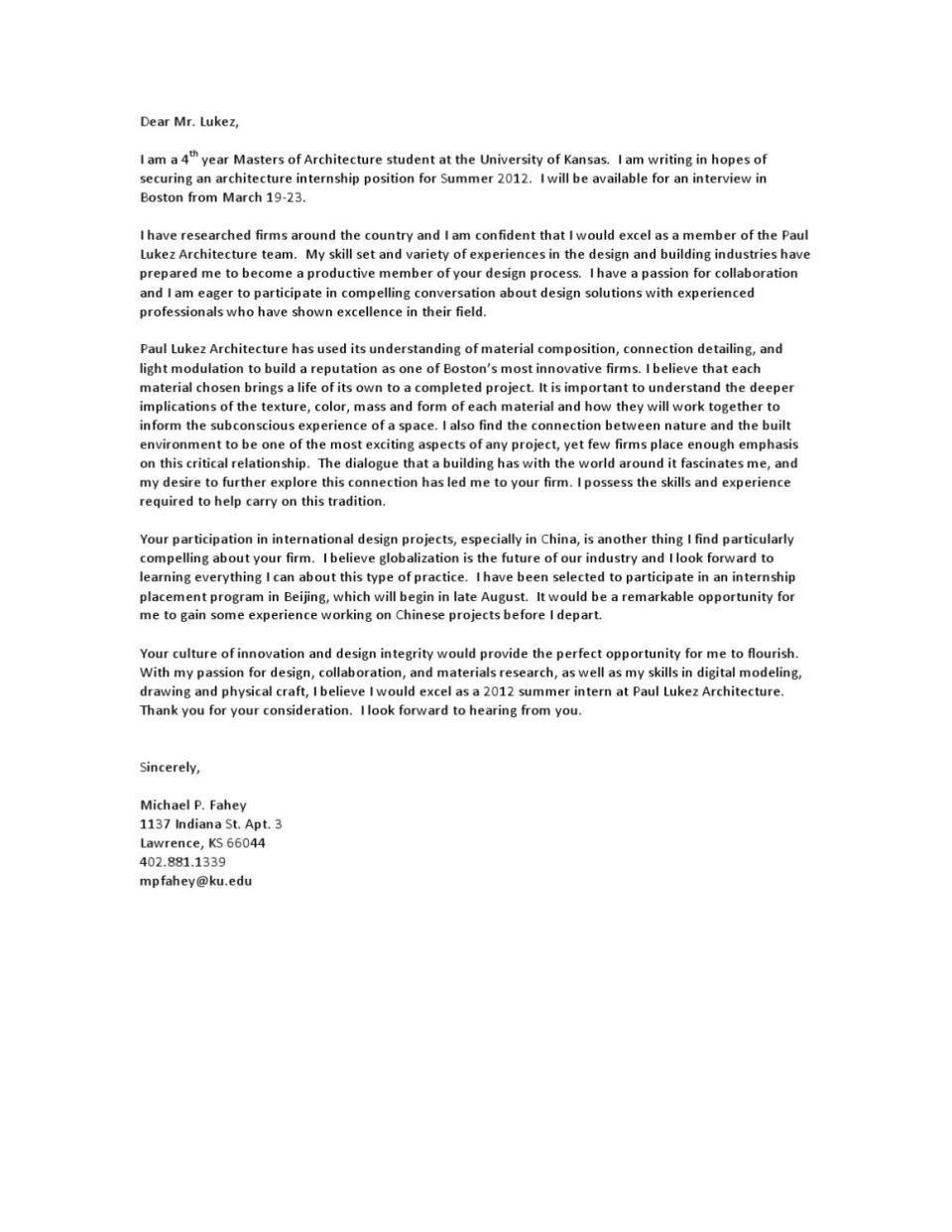 Paul Lukez Architects Cover Letter By Michael Fahey Issuu