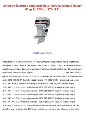 Johnson Evinrude Outboard Motor Service Manua by Norene Jeffry  Issuu