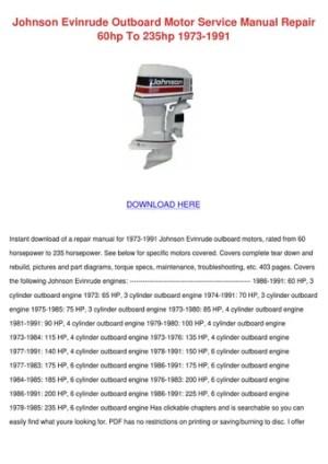 Johnson Evinrude Outboard Motor Service Manua by Norene