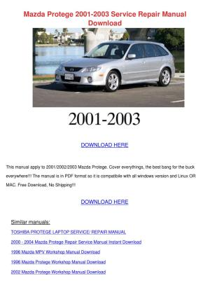 [MNL6981] Mazda Protege 5 20002004 Service Repair Manual