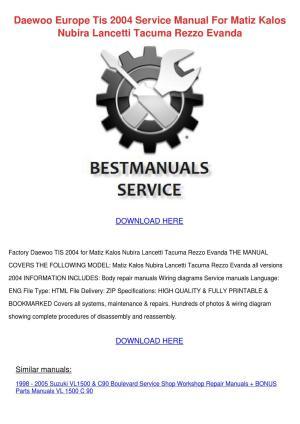 Daewoo Europe Tis 2004 Service Manual For Mat by Shiela