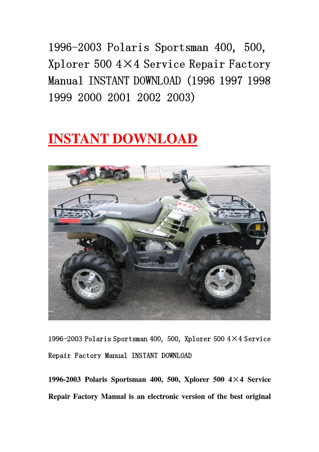 1998 Polaris Scrambler 500 Parts Manual Ebook