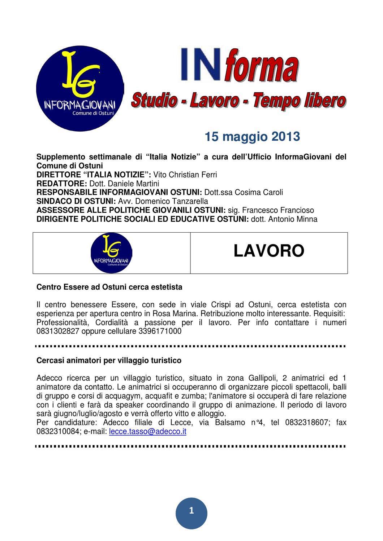 Informa Studio Lavoro Tempo Libero 15 Maggio 2013 By Giovani