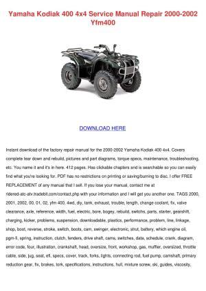 Yamaha Kodiak 400 4x4 Service Manual Repair 2 by Ona Wax