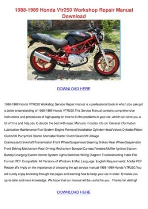 1988 1989 Honda Vtr250 Workshop Repair Manual by MoniqueMilton  Issuu