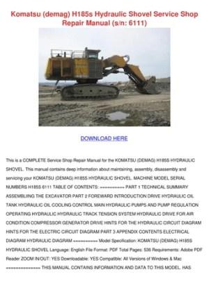 Komatsu Demag H185s Hydraulic Shovel Service by