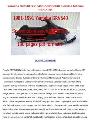 Yamaha Srv540 Srv 540 Snowmobile Service Manu by LeoraLaird  Issuu