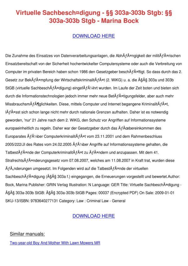 Virtuelle Sachbeschdigung 303a 303b Stgb 303a by
