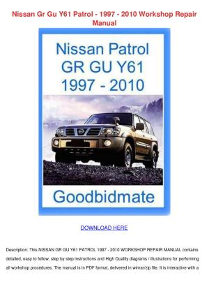 Nissan Gr Gu Y61 Patrol 1997 2010 Workshop Re by JordanHerr  Issuu