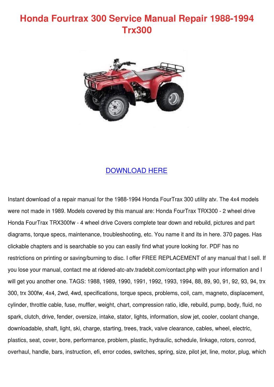 honda fourtrax 300 service manual