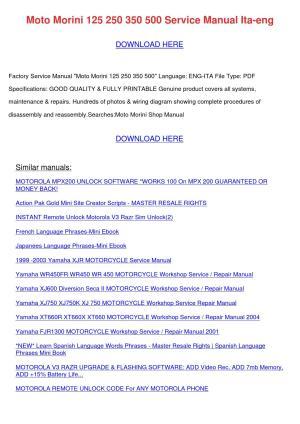 Moto Morini 125 250 350 500 Service Manual It by LaceyKnott  Issuu