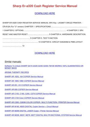 Sharp Er A320 Cash Register Service Manual by
