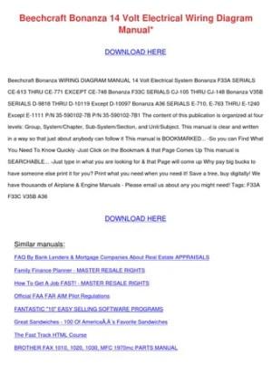 Beechcraft Bonanza 14 Volt Electrical Wiring by DoyleCrist  Issuu