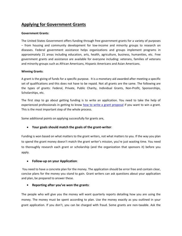 Applying for Government Grants by tombill16 - issuu