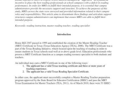 Master Reading Teacher Certification Texas - Best Master 2017