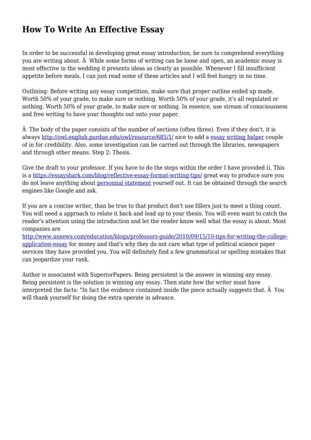 How To Write An Effective Essay by jumpyunderdog15 - issuu