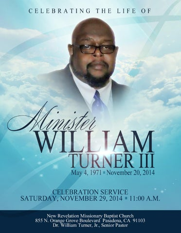 William Turner Iii Memorial Program By Upscale Media