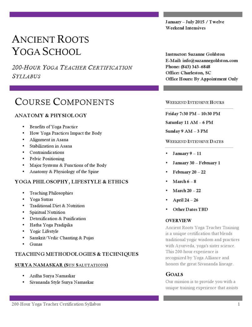 Yoga Teacher Training Course Syllabus Yourviewsite