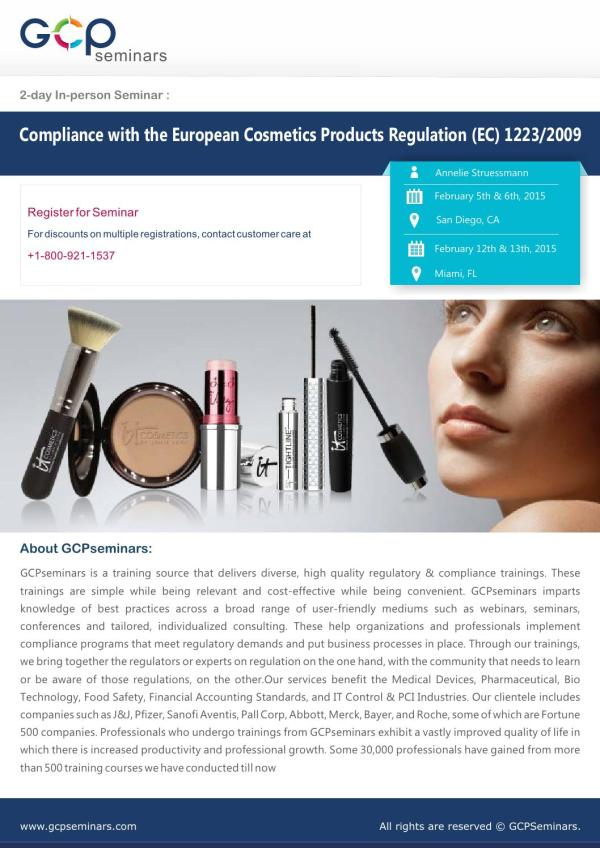 Compliance with the European Cosmetics Products Regulation ...
