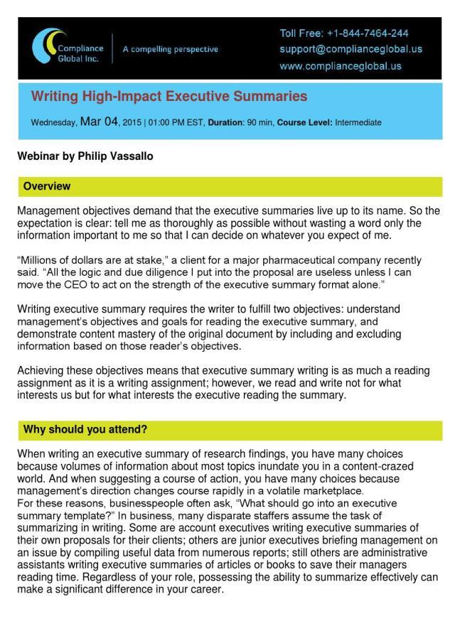 Writing High-Impact Executive Summaries - By Compliance Global Inc