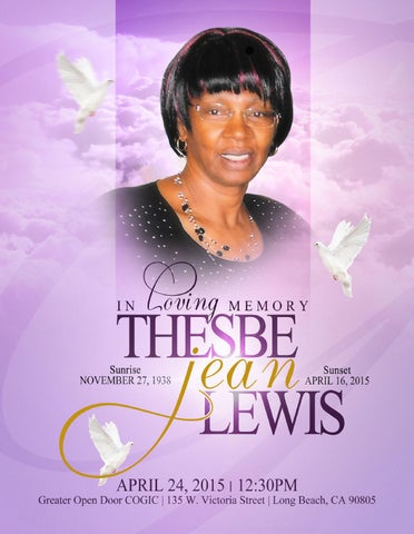 Thesbe Lewis Obituary 2015 By Upscale Media Group Issuu