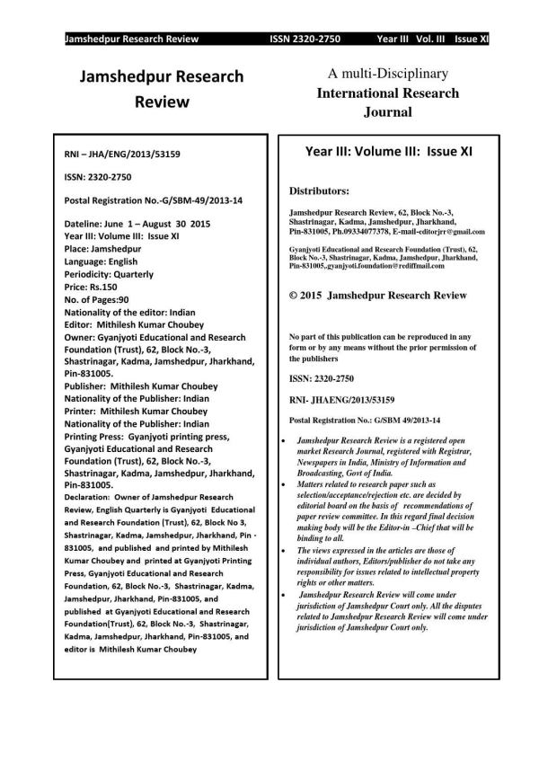 Jamshedpur research review Volume 3 issue 11 by Mithilesh ...