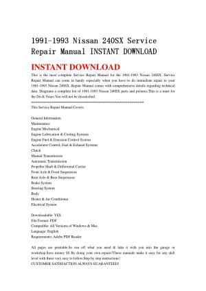 1991 1993 nissan 240sx service repair manual instant