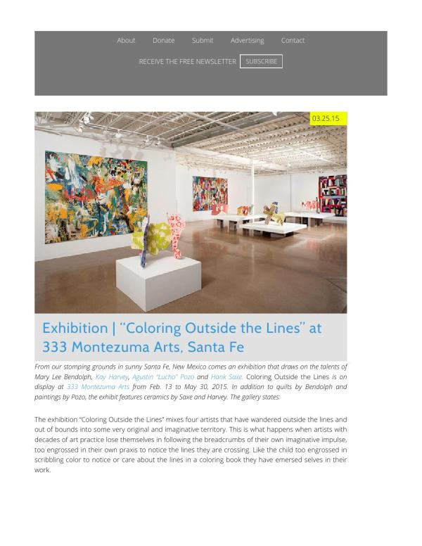 """Exhibition """"Coloring Outside the Lines,"""" Santa Fe, NM, 333 ..."""