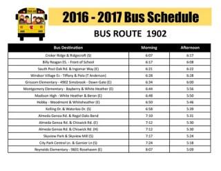 2016 2017 Bus Schedule