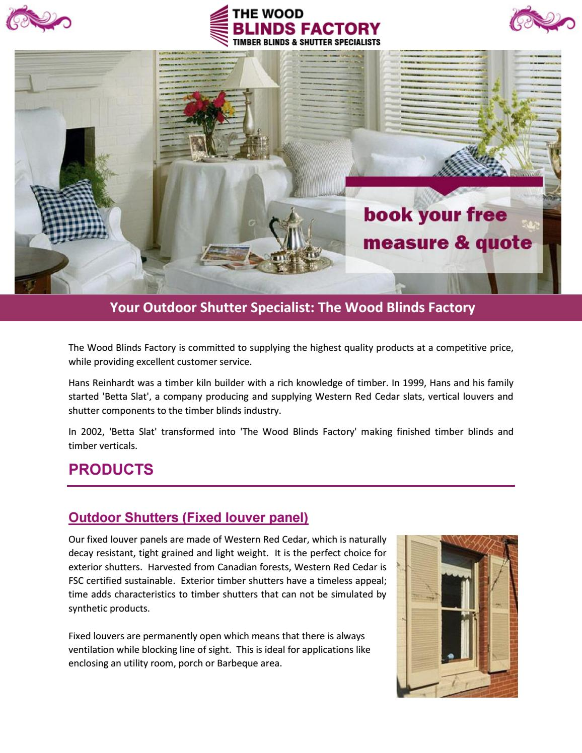 Your Outdoor Shutter Specialist The Wood Blinds Factory By