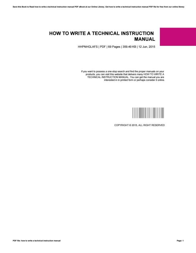 How to write a technical instruction manual by ChristianLott15