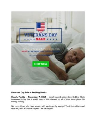 Veteran S Day At Bedding Stocks Stuart Florida November 7 2017 Locally Owned Online Stock Announced Today That It Would Have A 30