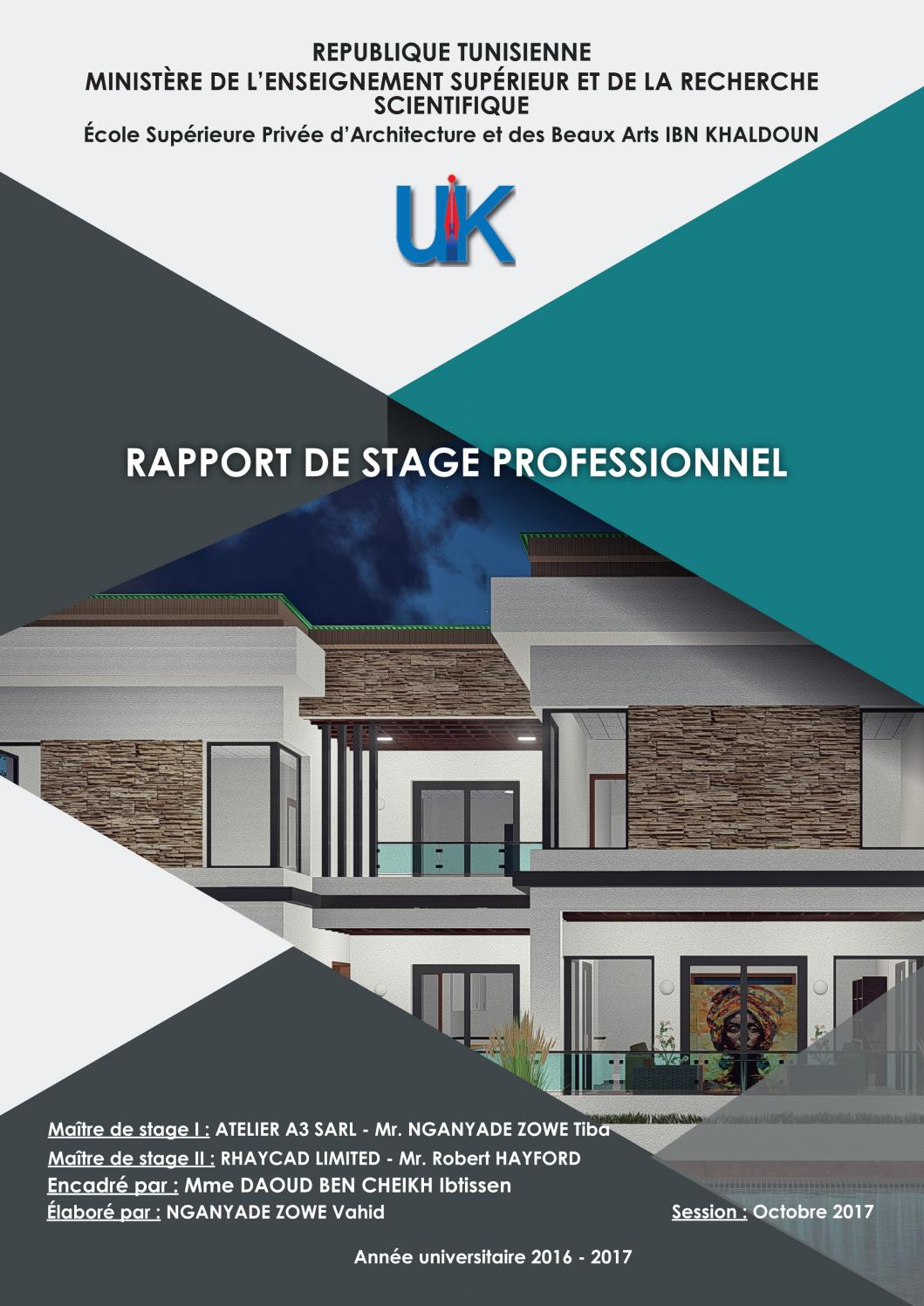 RAPPORT DE STAGE PROFESSIONNEL By KA Architecture Issuu