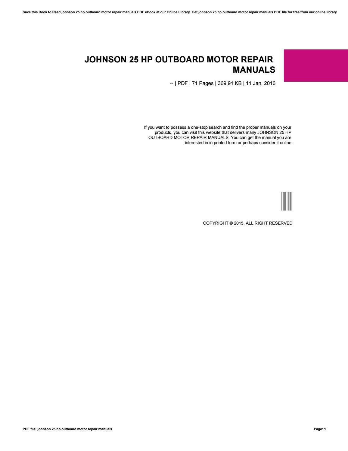 ... Array - 25 hp johnson outboard motor repair manual motorssite org rh  motorssite org