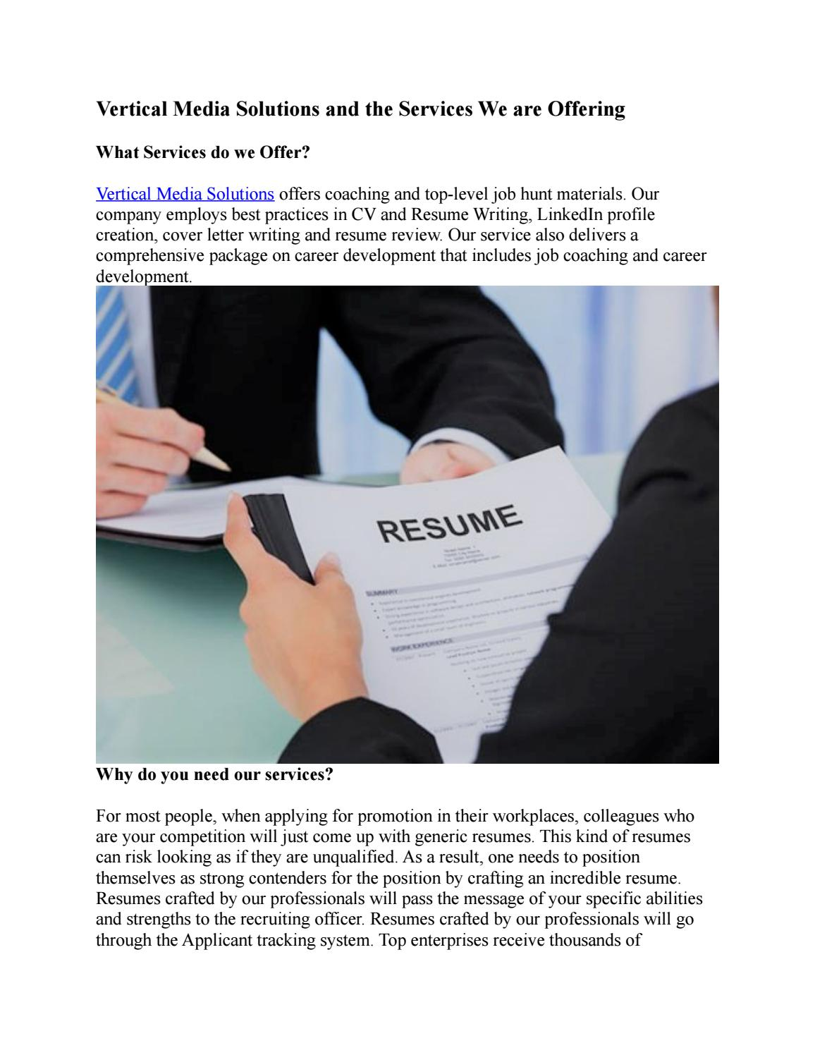 Vertical media solutions and the services we are offering by resume     Vertical media solutions and the services we are offering by resume review    issuu