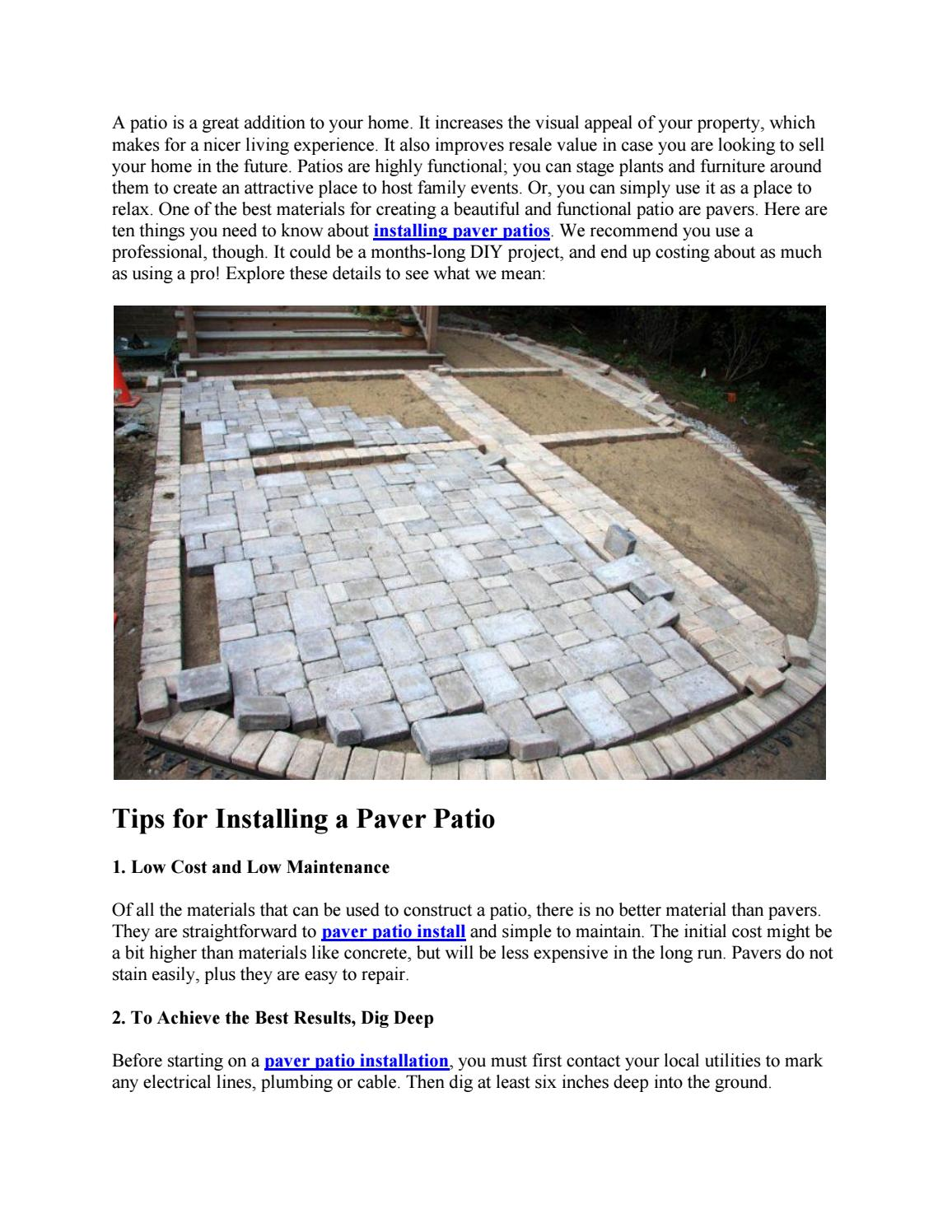 10 tips for installing a paver patio by