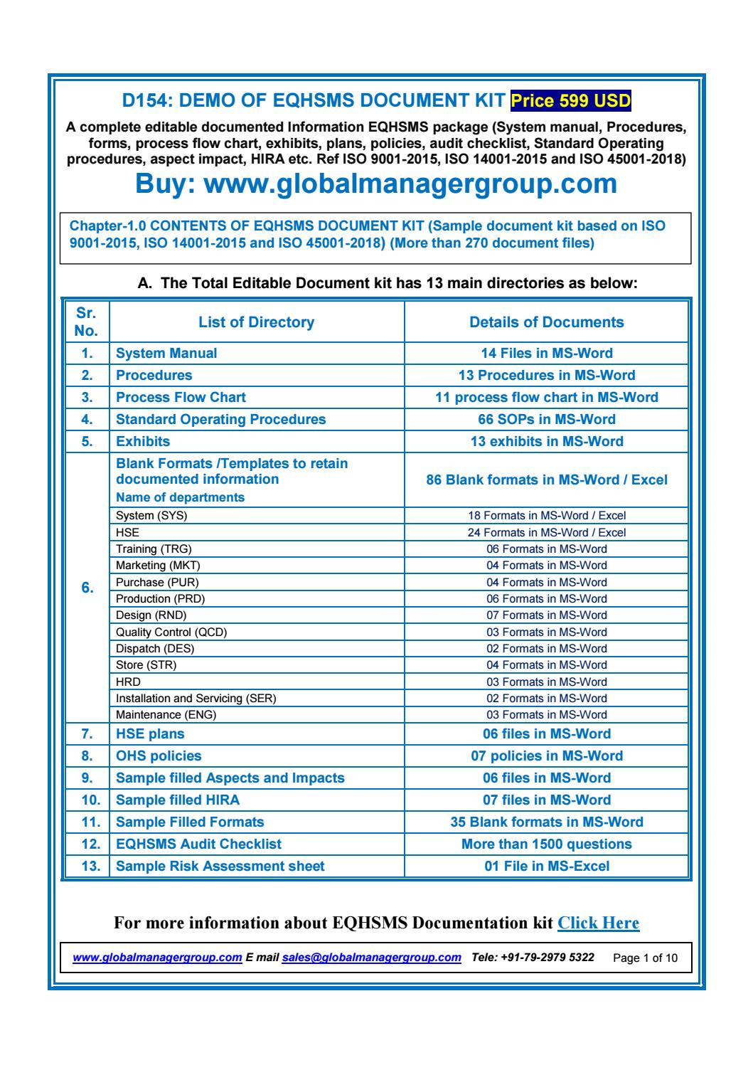 EQHSMS Documents With ISO 90012015 ISO 140012015 ISO 450012018 Requirements By Global