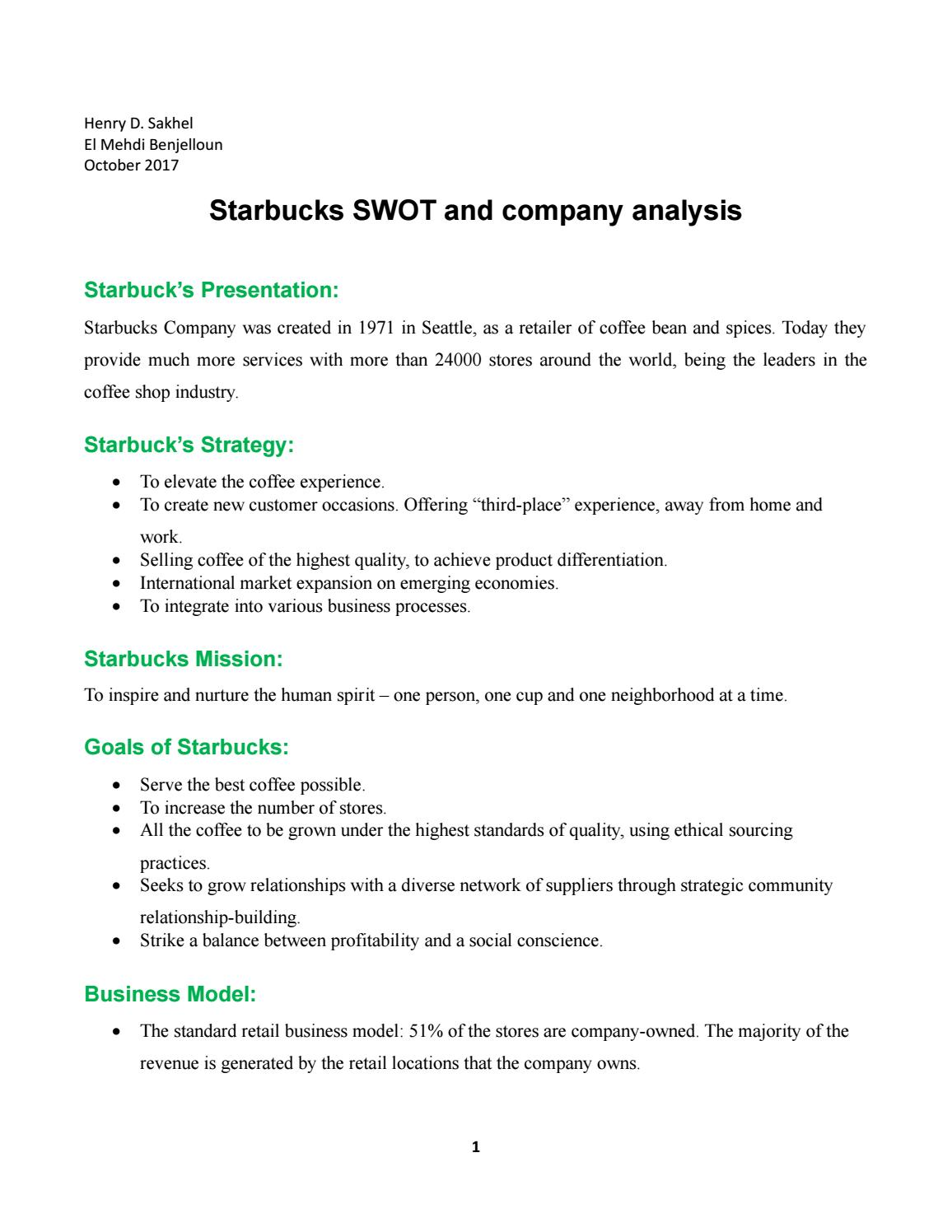 Starbucks Strategy Analysis And Opportunities By