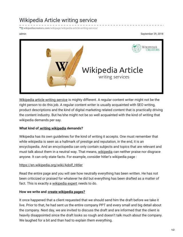 wikipedia article writing service by Wikipedia Creators - issuu
