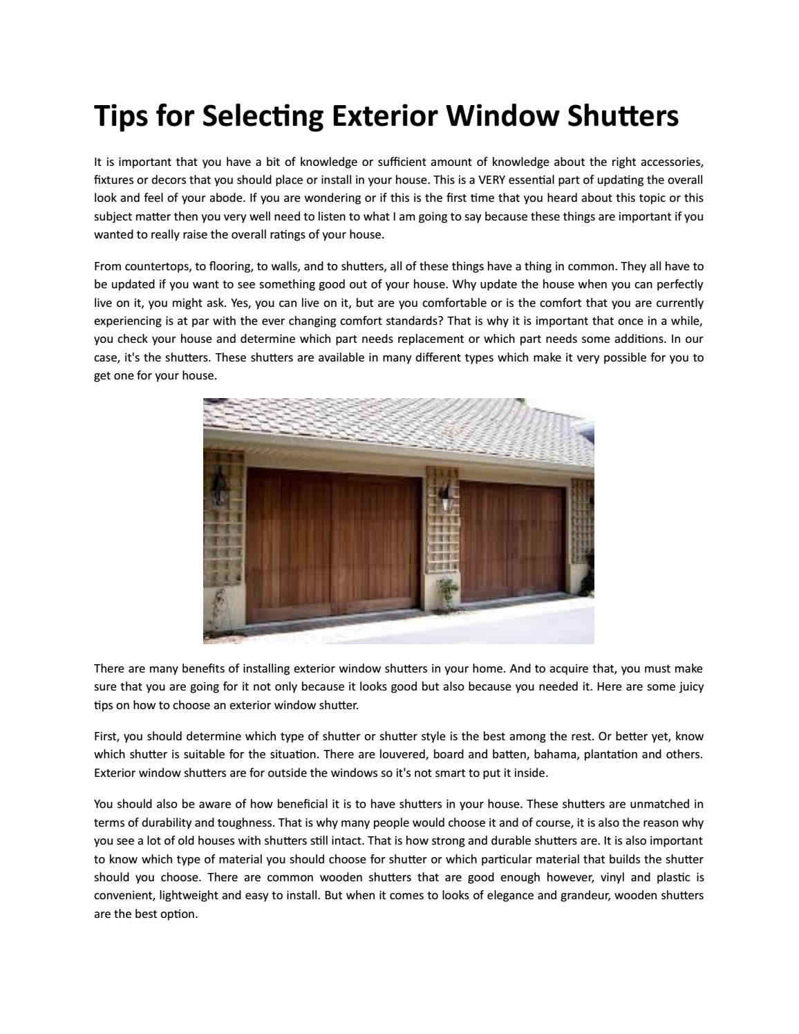 Tips For Selecting Exterior Window Shutters By Shuttercraft