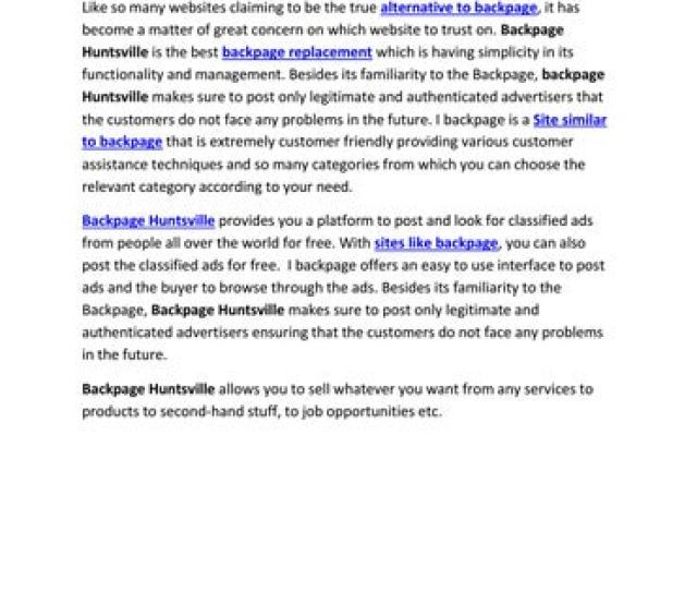 Backpage Huntsville An Alternative To Backpage Https Bit Ly 2grwzyl Like So Many Websites Claiming To Be The True Alternative To Backpage It Has Become A
