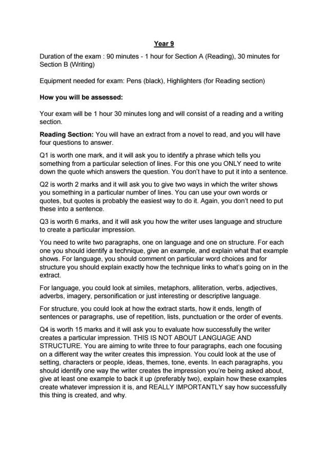 Year 7 English Exam Info by Ullswater Community College - issuu