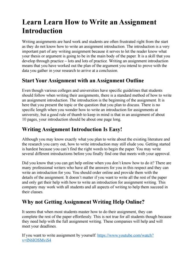 How to Write an Assignment Introduction by victoria - issuu