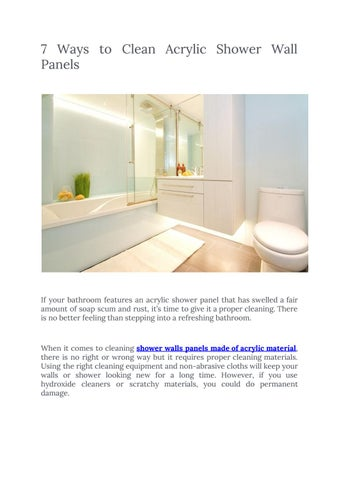 to clean acrylic shower wall panels